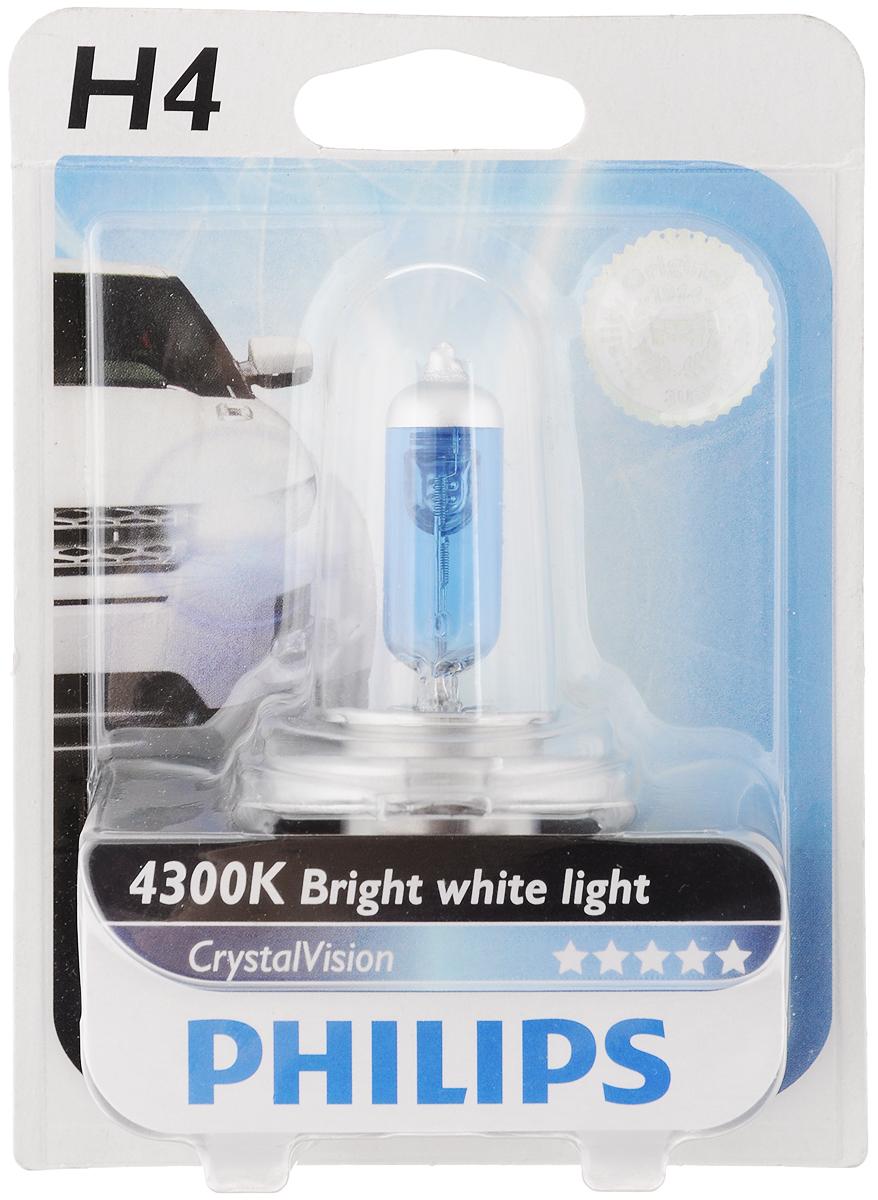 """Лампа автомобильная галогенная Philips """"CrystalVision"""", для фар, цоколь H4 (P43t), 12V, 60/55W"""