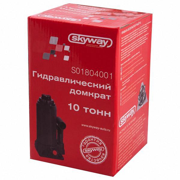 """Домкрат бутылочный """"Skyway"""", гидравлический, с клапаном, 10 т, высота 200-385 мм. S01804001"""