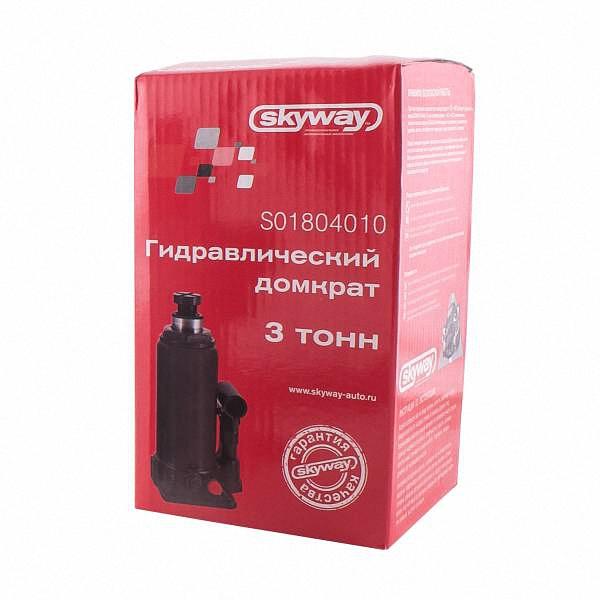 """Домкрат бутылочный """"Skyway"""", гидравлический, с клапаном, 3 т"""