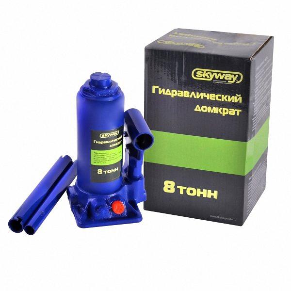 """Домкрат бутылочный """"Skyway"""", гидравлический, с клапаном, 8 т, высота 200-385 мм. S01804019"""