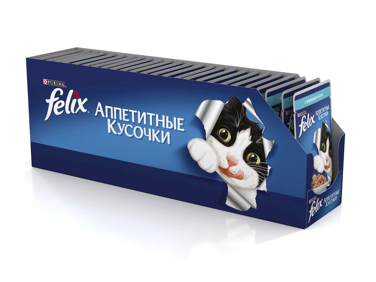 """Консервы для кошек Felix """"Аппетитные кусочки"""", с форелью в желе, 85 г, 24 шт"""