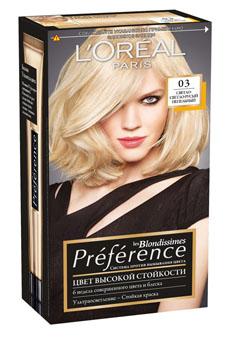 LOreal Paris Краска для волос Preference, с бальзамом -усилителем цвета, оттенок 03, Светло-светло-русый пепельный, 270 мл