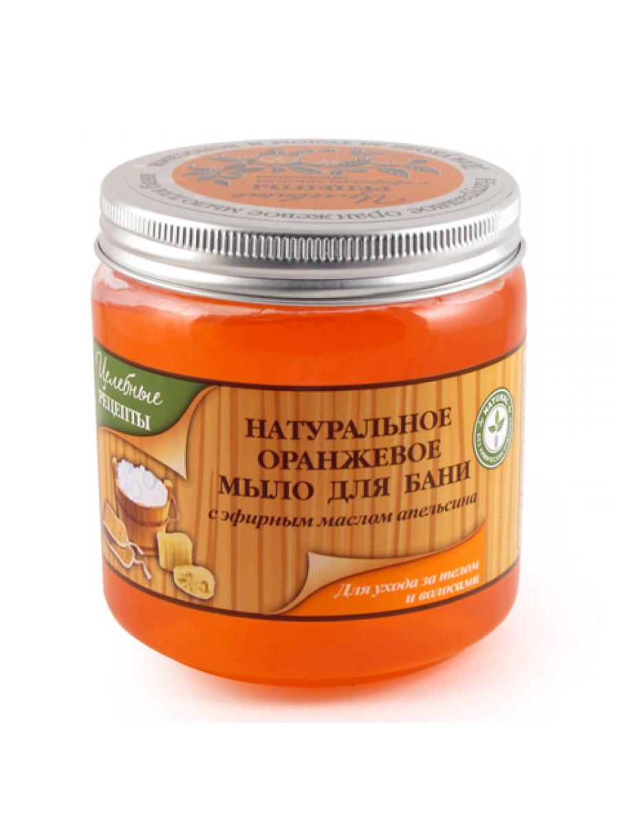 Целебные Рецепты Натуральное Оранжевое мыло для бани для волос и тела 500 мл. (Целебные рецепты)