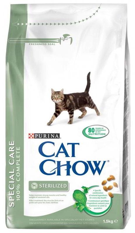 """Корм сухой Cat Chow """"Special Care"""" для стерилизованных кошек и кастрированных котов, 1,5 кг"""