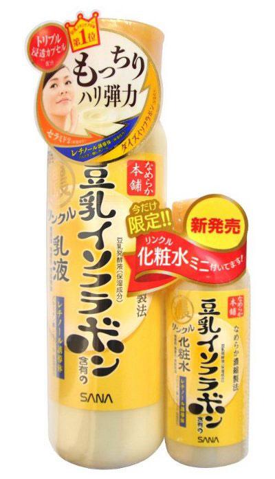 Sana Увлажняющее и подтягивающее молочко Wrinkle Milk, с ретинолом и изофлавонами сои, 150 мл