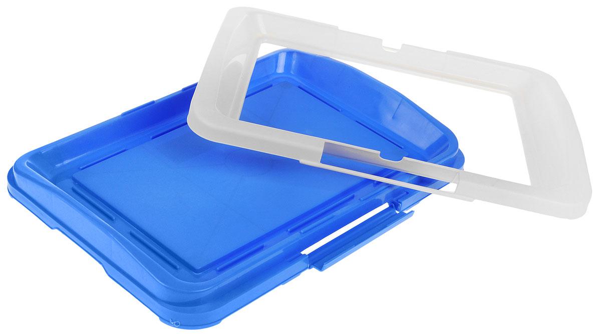 "Туалет для собак V.I.Pet ""Японский стиль"", цвет: синий, молочный, 48 х 35 х 5 см"