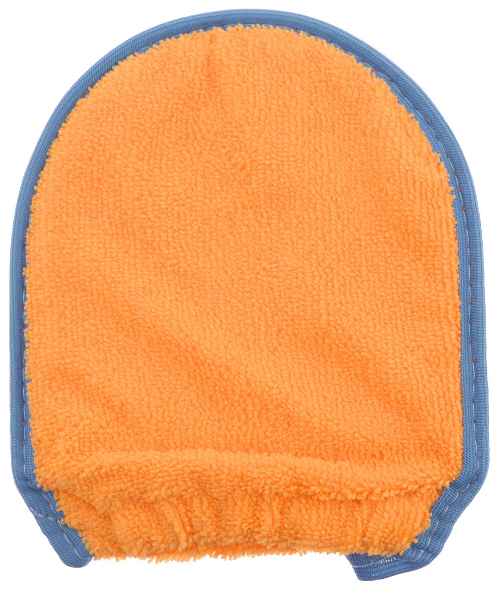 Мочалка-рукавица для тела Текос, с манжетой, натуральная, цвет: оранжевый, синий, бежевый