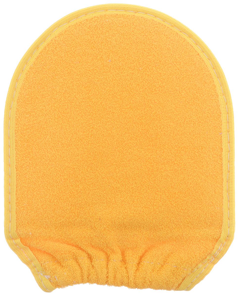 Мочалка-рукавица для тела Текос, с манжетой, натуральная, цвет: оранжевый, бежевый