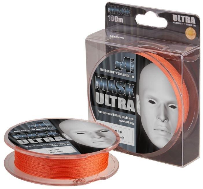 "Леска плетеная (шнур) Akkoi ""Mask Ultra X4-100"", цвет: оранжевый (orange), 4 нити, d0,12 мм, нагрузка 4,54 кг"