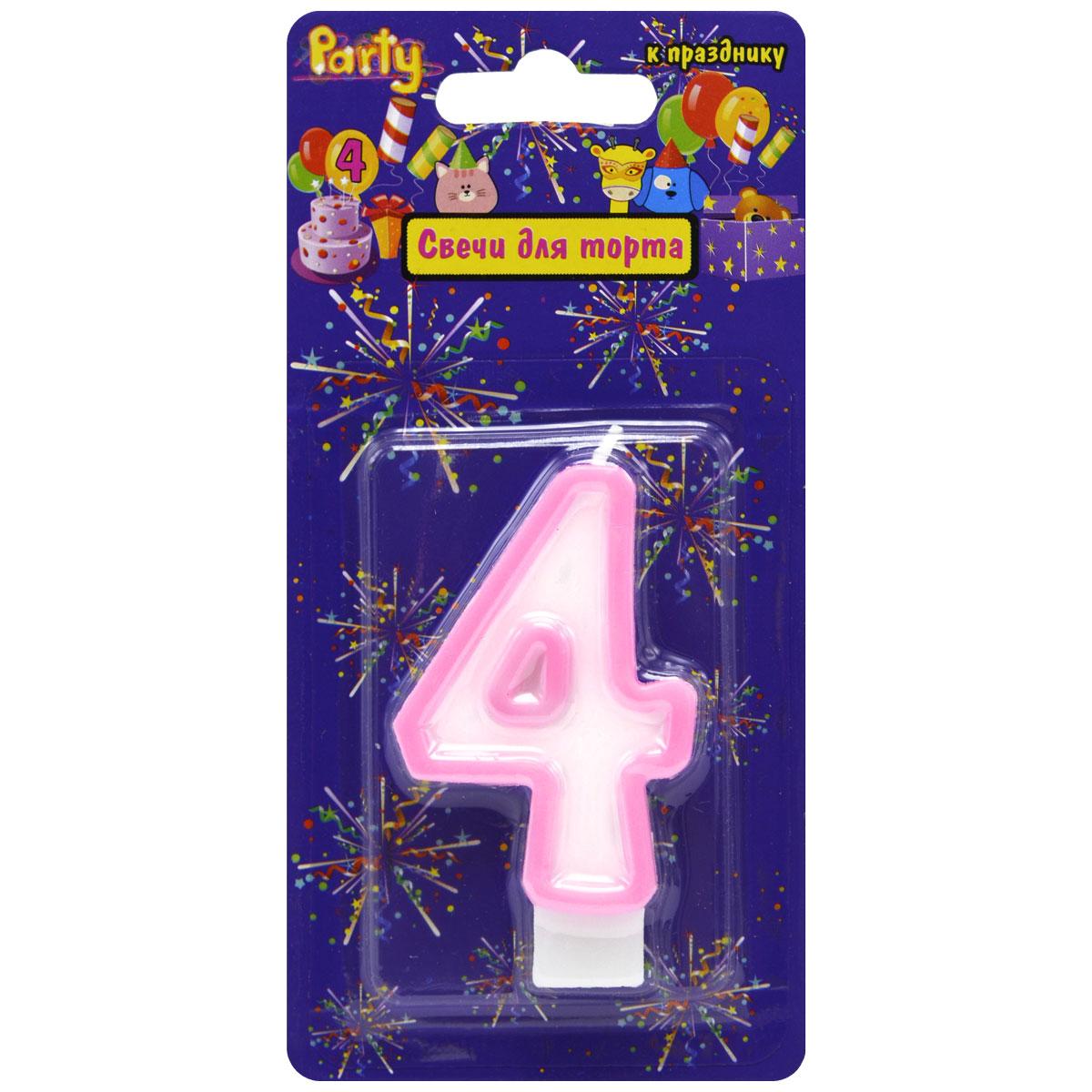 Action! Свеча-цифра для торта 4 лет