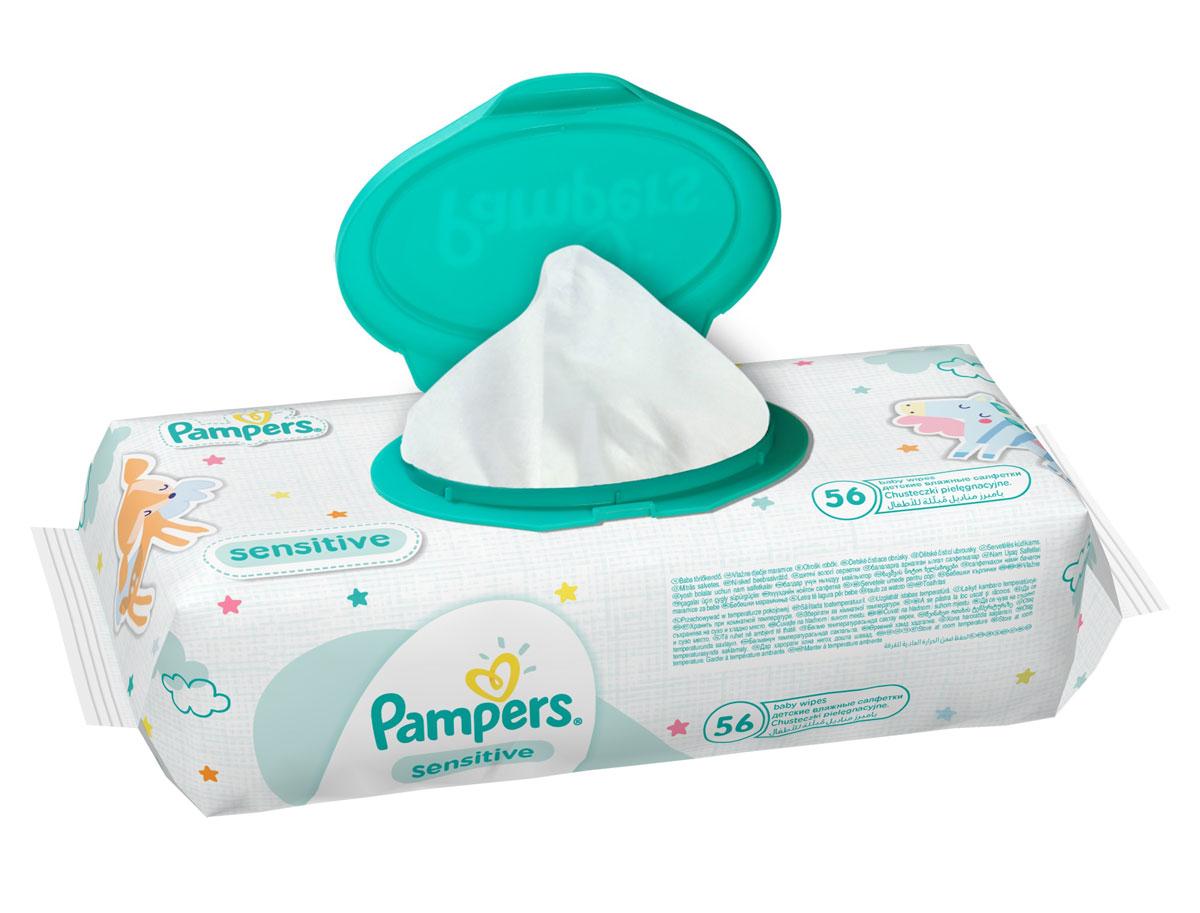 Pampers Влажные салфетки детские Sensitive 56 шт