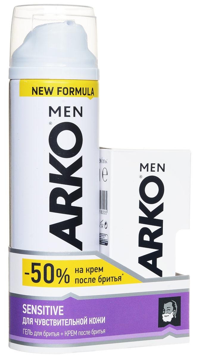 Arko Men Гель для бритья Sensitive 200мл+Arko Men Крем после бритья Sensitive 50мл (50%)