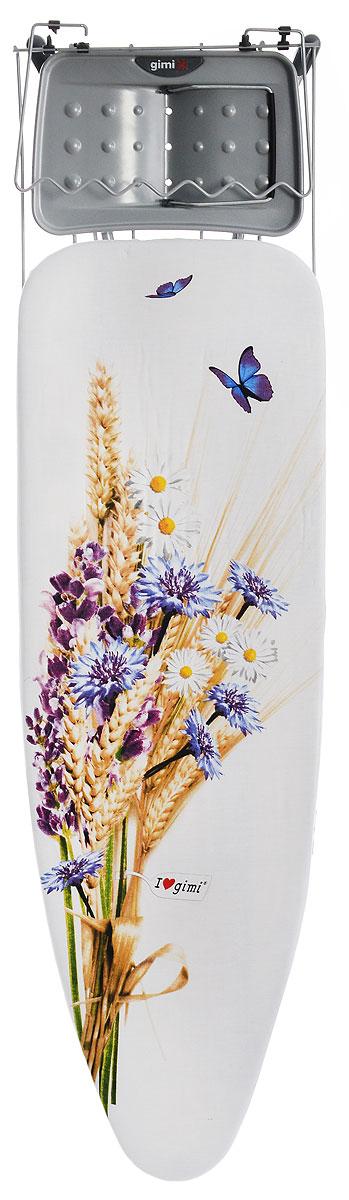 """Доска гладильная Gimi """"Uniko"""", цвет: белый, фиолетовый, голубой, 122 х 38 см"""