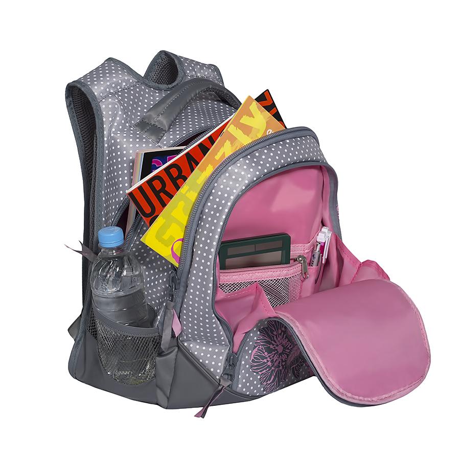 """Рюкзак молодежный женский """"Grizzly"""", цвет: серый, розовый, 22 л. RD-742-1/1"""