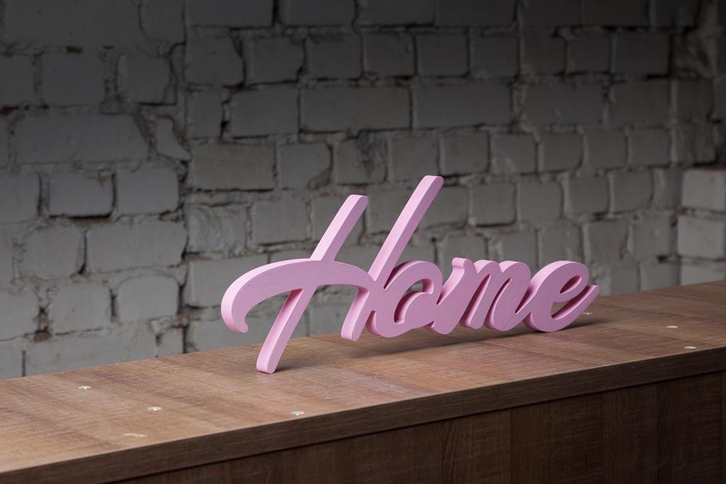 "Табличка декоративная Magellanno ""Home1"", цвет: розовый, 47 х 16 см"
