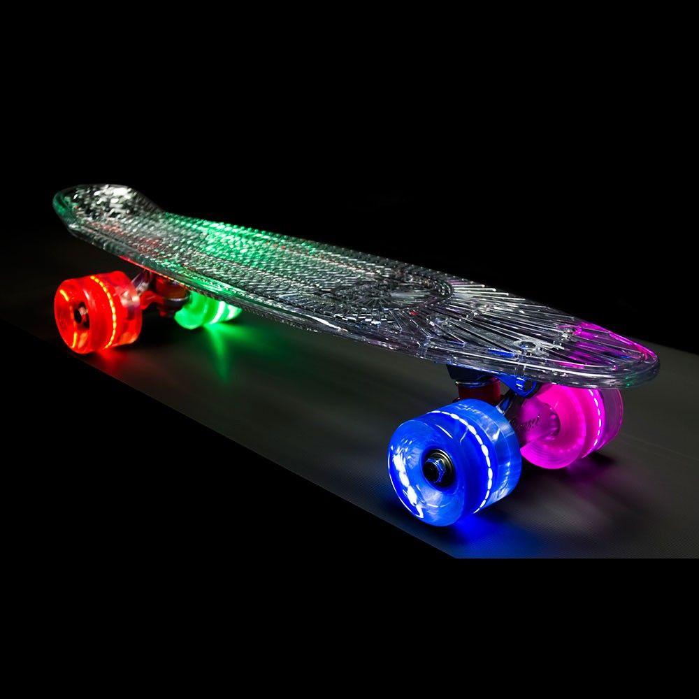 "Пластборд Sunset Skateboards ""Hippy"", цвет: прозрачный, зеленый, синий, дека 56 х 15 см"