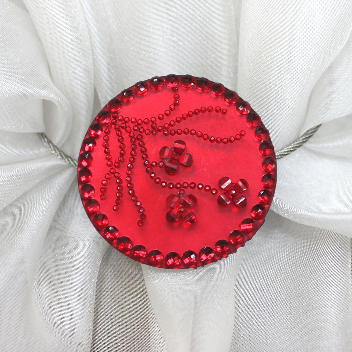 """Подхват для штор TexRepublic """"Ajur. Tross"""", на магнитах, цвет: серебряный, красный. 79003"""