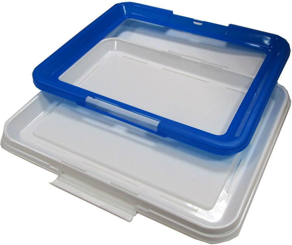 """Туалет-лоток """"OUT!"""", средний, с фиксатором, цвет: синий, 48х41х3,5 см"""