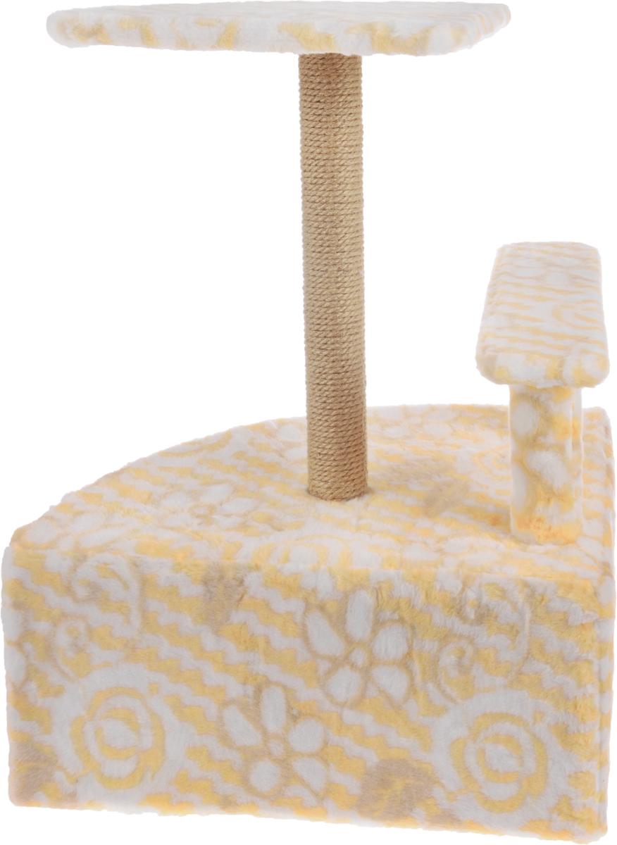 """Игровой комплекс для кошек """"Меридиан"""", угловой, с домиком и когтеточкой, цвет: белый, оранжевый, бежевый, 58 х 48 х 79 см"""