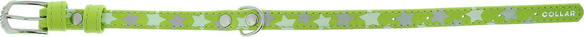 """Ошейник для собак CoLLaR Glamour """"Звездочка"""", цвет: салатовый, ширина 1,2 см, обхват шеи 21-29 см"""