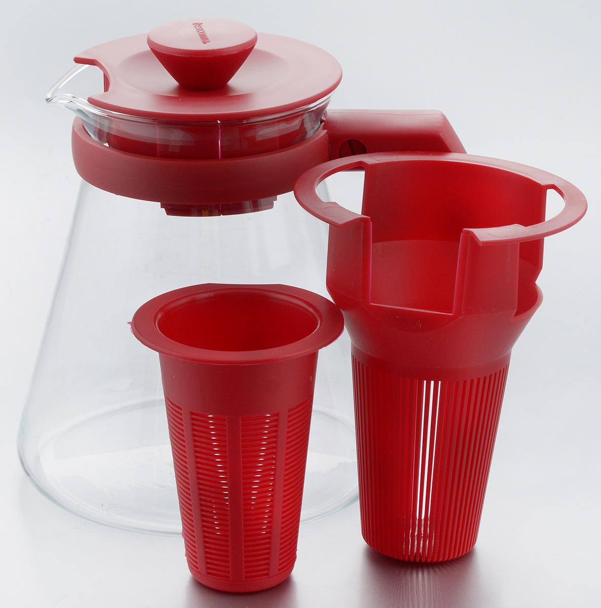 """Чайник заварочный Tescoma """"Teo Tone"""", с ситечком, цвет: красный, прозрачный, 1,25 л"""