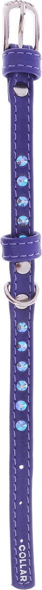"""Ошейник для собак """"CoLLaR Glamour"""", цвет: фиолетовый, ширина 9 мм, обхват шеи 18-21 см"""
