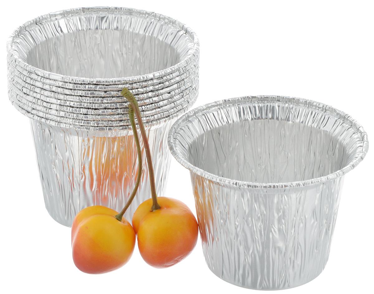 """Форма для выпечки """"Paterra"""", цвет: серебристый, 5,5 х 7,5 х 7,5 см, 10 шт"""