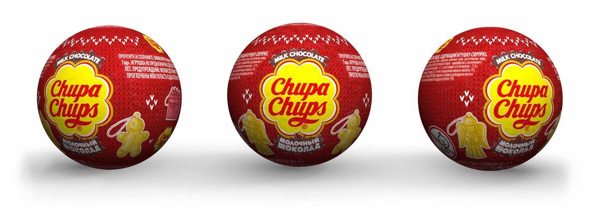 Chupa Chups Новый год молочный шоколад, 18 штук по 20 г