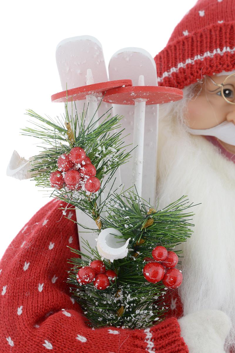 """Фигурка новогодняя ESTRO """"Дед Мороз с лыжами"""", цвет: красный, белый, высота 60 см"""