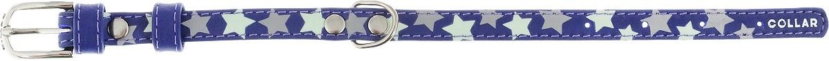 """Ошейник для собак CoLLaR Glamour """"Звездочка"""", цвет: фиолетовый, ширина 1,2 см, обхват шеи 19-25 см"""