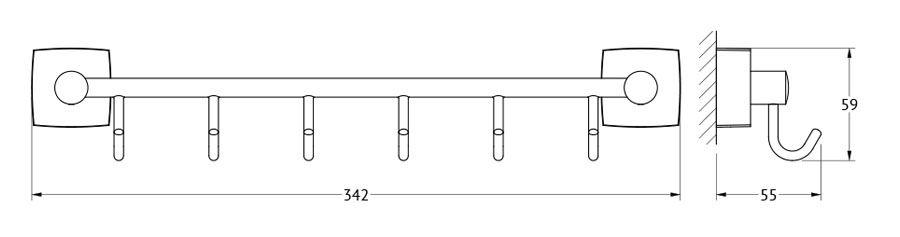 Штанга для полотенца FBS Esperado, с 6-ю крючками, 35 см, цвет: хром. ESP 027ESP 027Аксессуары торговой марки FBS производятся на заводе ELLUX Gluck s.r.o., имеющем 20-летний опыт работы. Предприятие расположено в Злинском крае, исторически знаменитом своим промышленным потенциалом. Компоненты из всемирно известного богемского хрусталя выгодно дополняют серии аксессуаров. Широкий ассортимент, разнообразие форм, высочайшее качество исполнения и техническое?совершенство продукции отвечают самым высоким требованиям. Продукция FBS представлена на российском рынке уже более 10 лет и за это время успела завоевать заслуженную популярность у покупателей, отдающих предпочтение дорогой и качественной продукции.