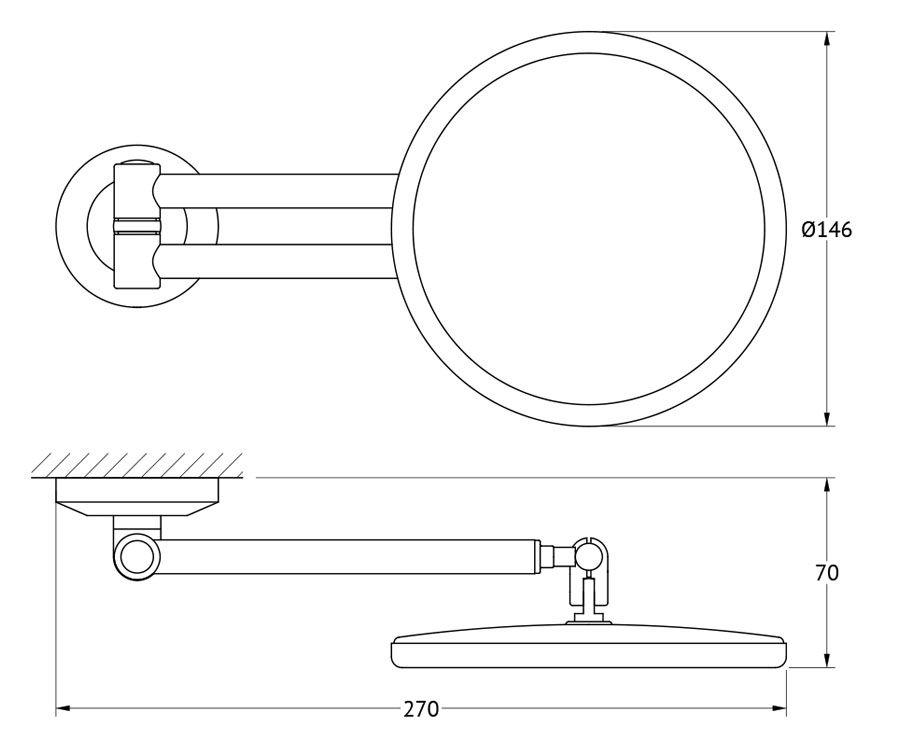 """Косметическое зеркало FBS """"Standard"""", увеличение x2,5, цвет: хром. STA 020"""