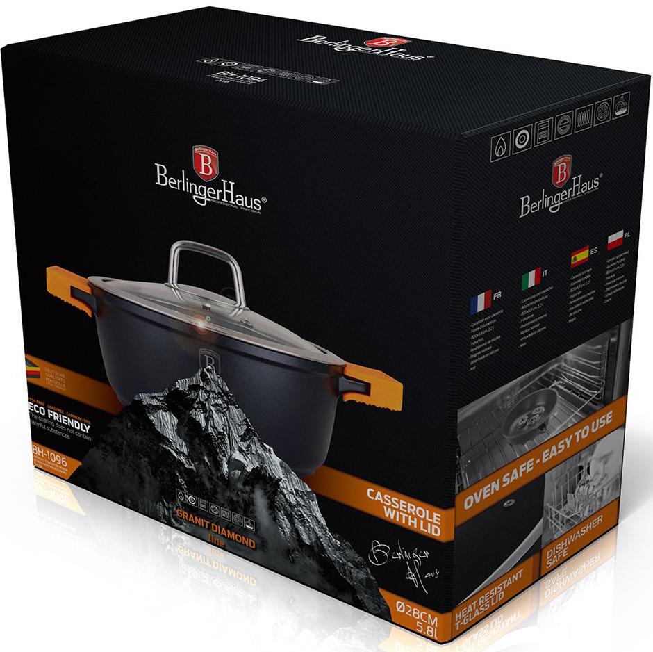 """Кастрюля Berlinger Haus """"Granit Diamond Line"""", цвет: черный, оранжевый, с крышкой, 5,8 л, 28 см. 1096-ВН"""