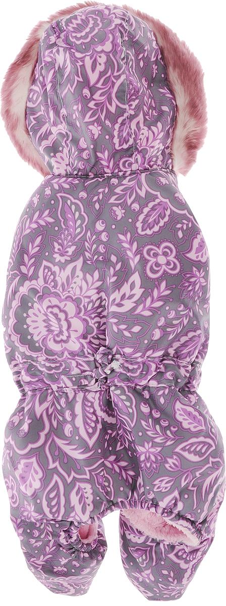 """Комбинезон для собак Dogmoda """"Winter"""", зимний, для девочки, цвет: фиолетовый, серый. Размер 2 (M)"""