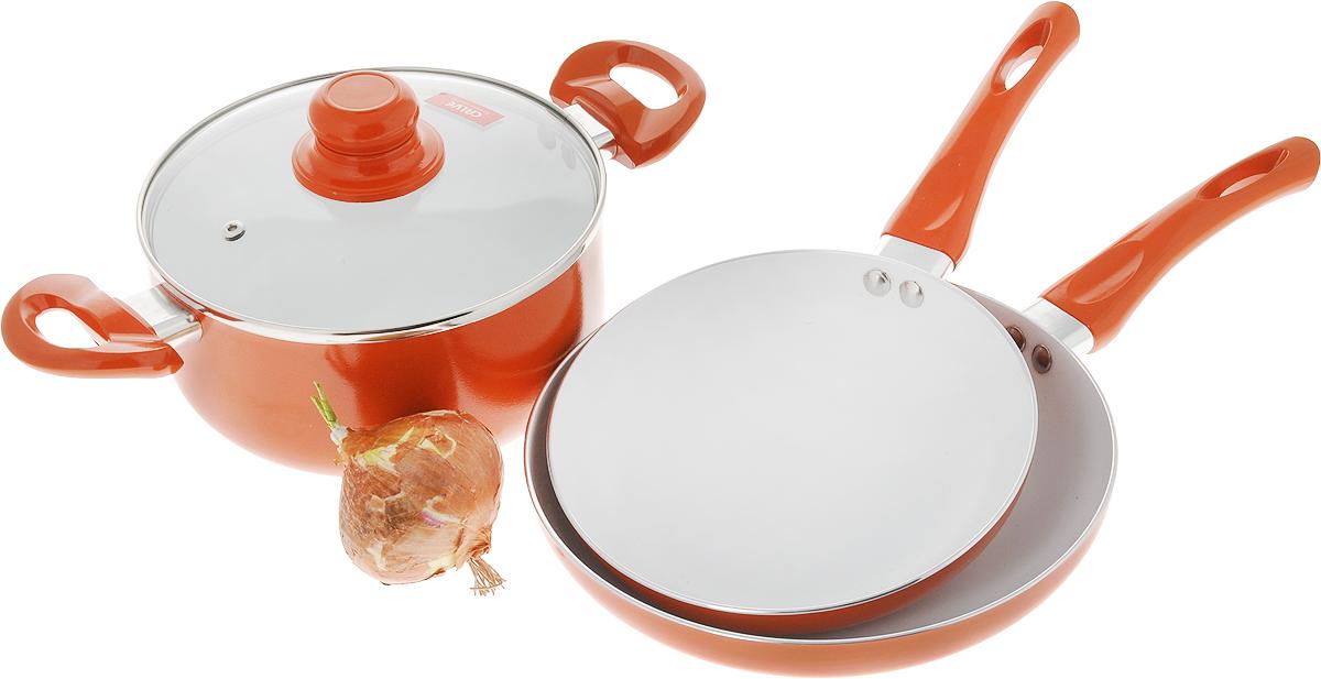 """Набор посуды """"Calve"""", с керамическим покрытием, цвет: оранжевый, 4 предмета"""