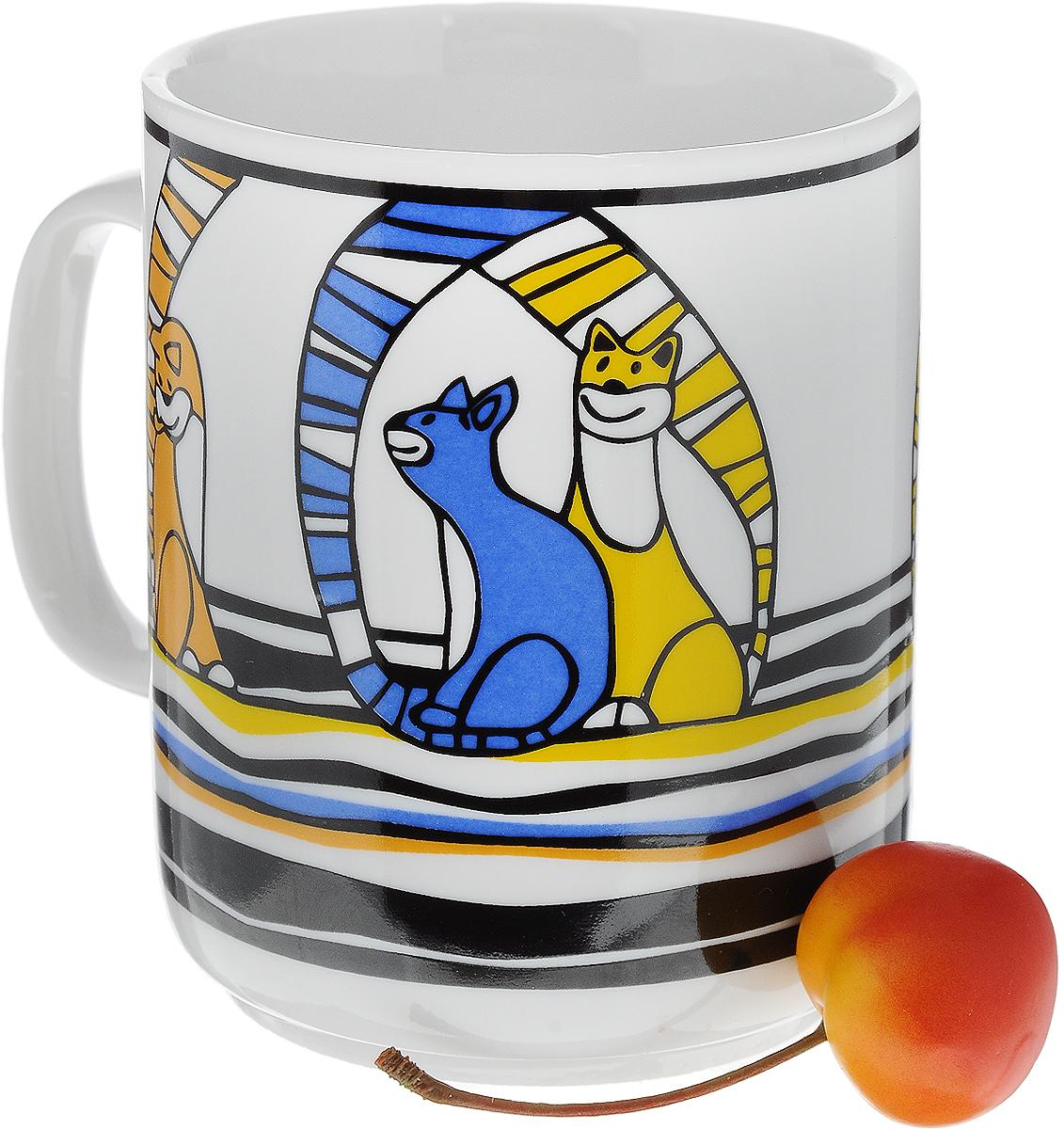 """Кружка Фарфор Вербилок """"Коты"""", цвет: желтый, синий, оранжевый, 300 мл"""