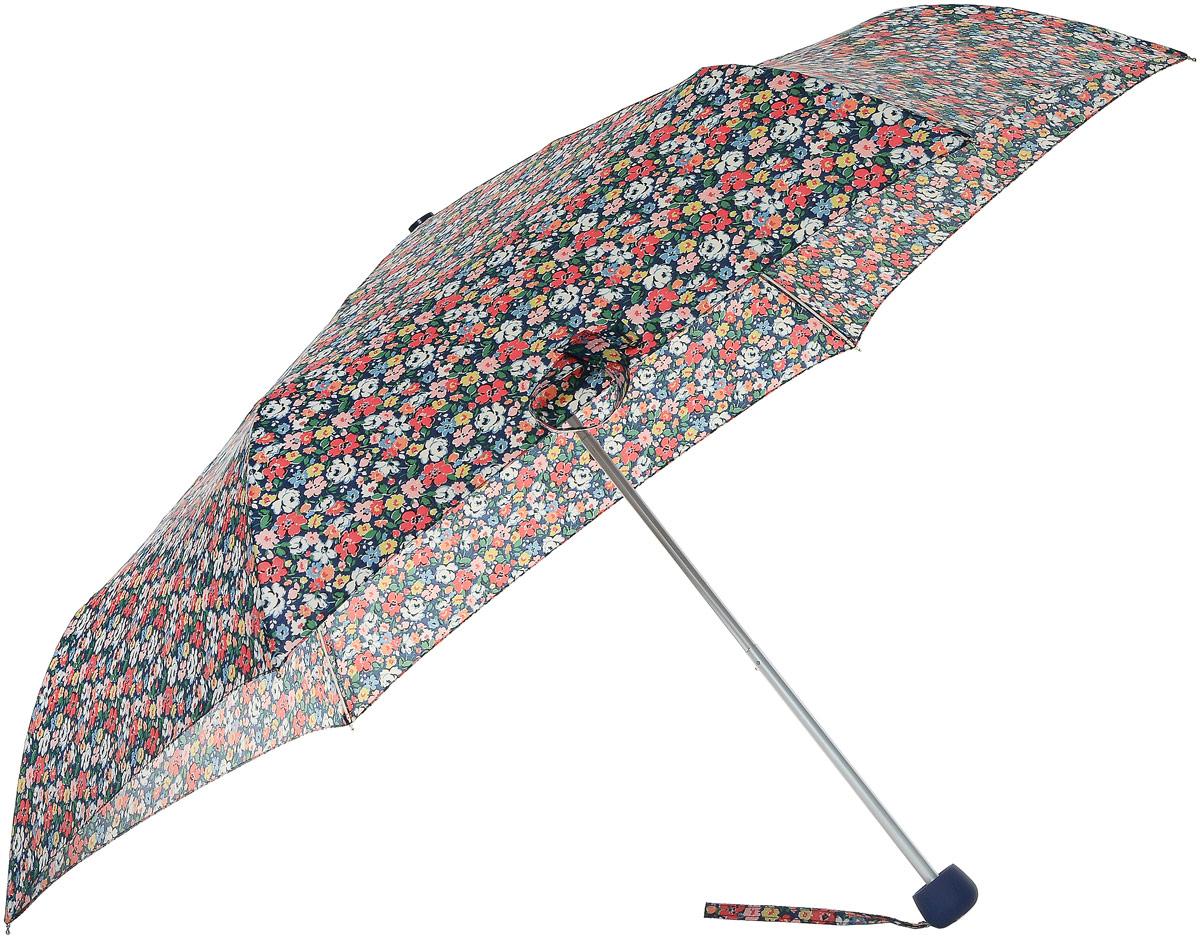 Зонт женский Cath Kidston Minilite, механический, 3 сложения, цвет: синий, мультиколор. L768-2853L768-2853 MewsDitsyBlueСтильный механический зонт Cath Kidston Minilite в 3 сложения даже в ненастную погоду позволит вам оставаться элегантной. Облегченный каркас зонта выполнен из 8 спиц из фибергласса и алюминия, стержень также изготовлен из алюминия, удобная рукоятка - из пластика. Купол зонта выполнен из прочного полиэстера. В закрытом виде застегивается хлястиком на липучке. Яркий оригинальный цветочный принт поднимет настроение в дождливый день. Зонт механического сложения: купол открывается и закрывается вручную до характерного щелчка. На рукоятке для удобства есть небольшой шнурок, позволяющий надеть зонт на руку тогда, когда это будет необходимо. К зонту прилагается чехол с небольшой нашивкой с названием бренда. T???? зонт компактно располагается в кармане, сумочке, дверке автомобиля.
