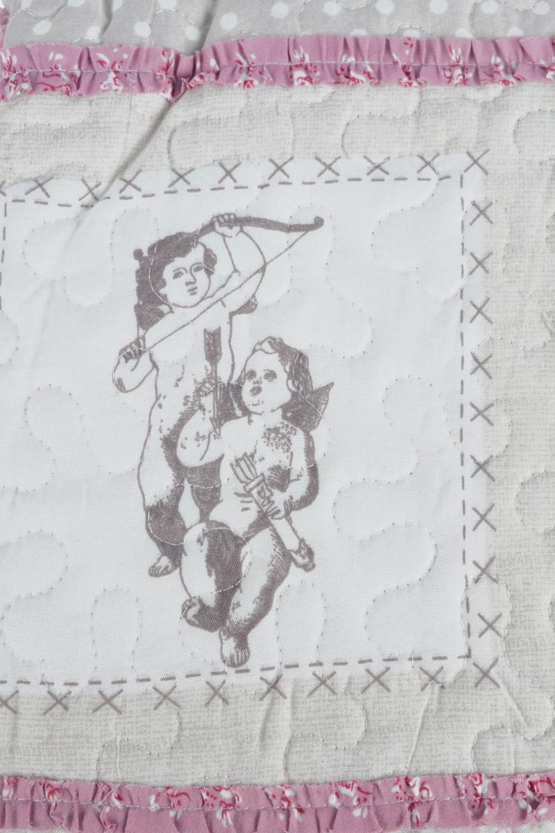 """Комплект для спальни Karna """"Modalin. Пэчворк"""": покрывало 230 х 250 см, 2 наволочки 50 х 70 см, цвет: белый, серый, розовый"""
