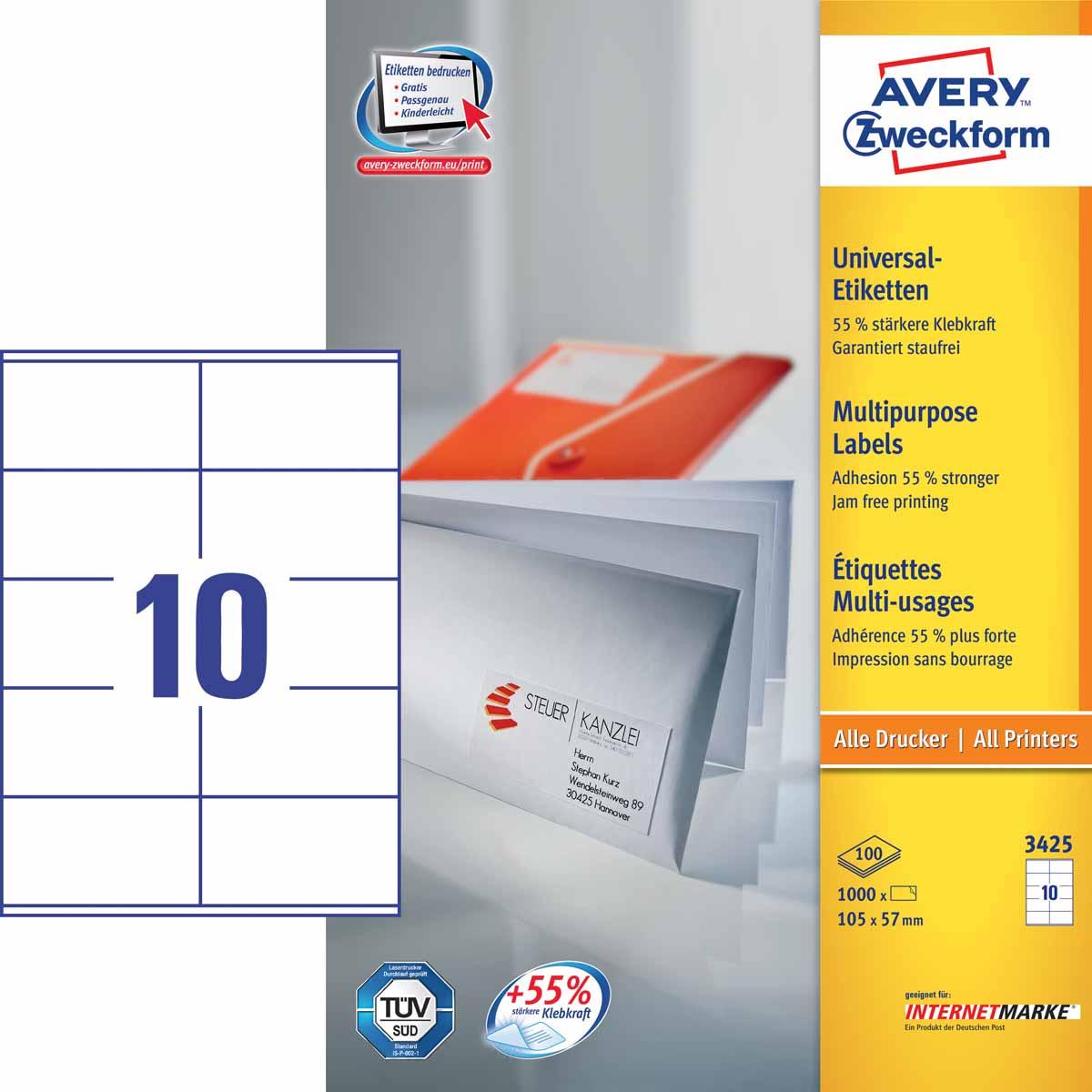 Avery Zweckform Этикетки самоклеящиеся универсальные 105 х 57 мм 1000 шт 100 листов
