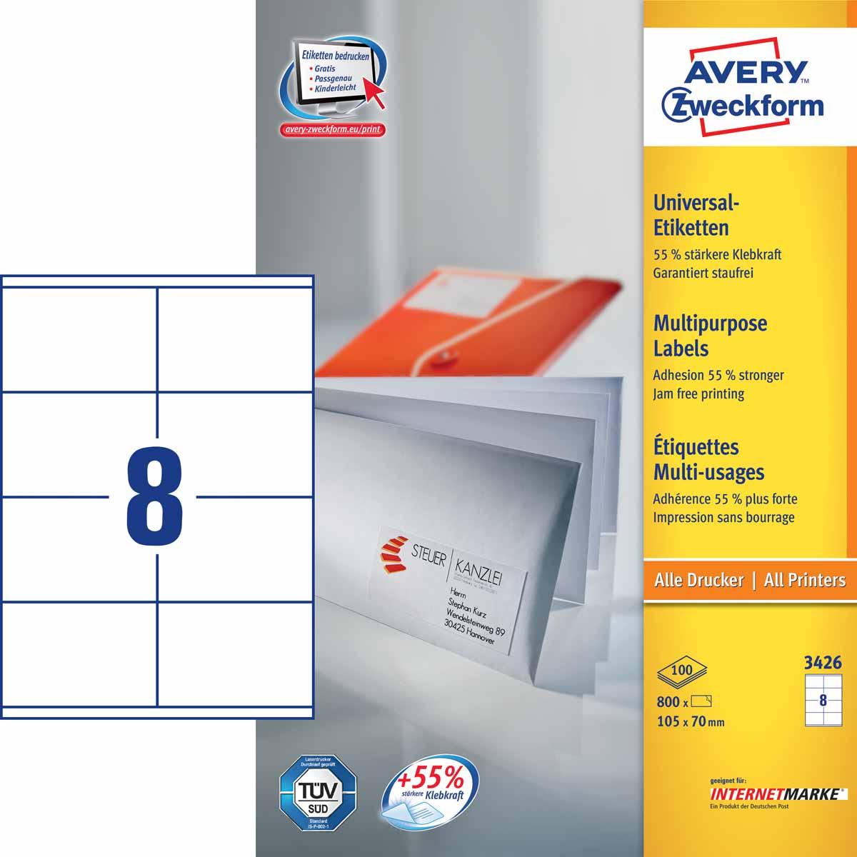 Avery Zweckform Этикетки самоклеящиеся универсальные 105 х 70 мм 800 шт 100 листов