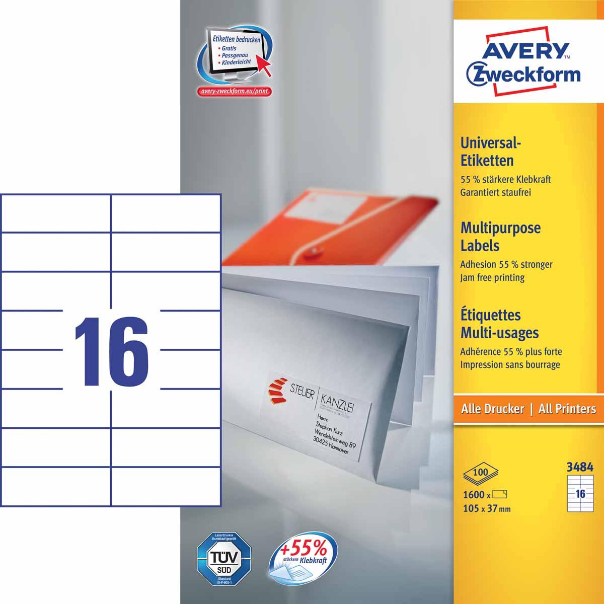 Avery Zweckform Этикетки самоклеящиеся универсальные 105 х 37 мм 1600 шт 100 листов