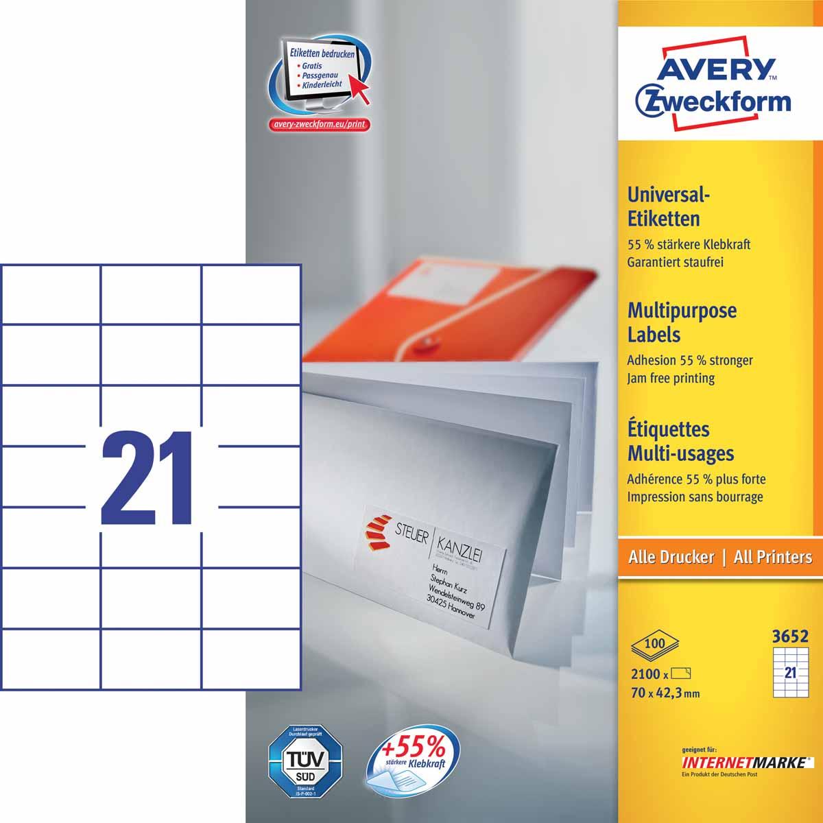 Avery Zweckform Этикетки самоклеящиеся универсальные 70 х 42,3 мм 2100 шт 100 листов