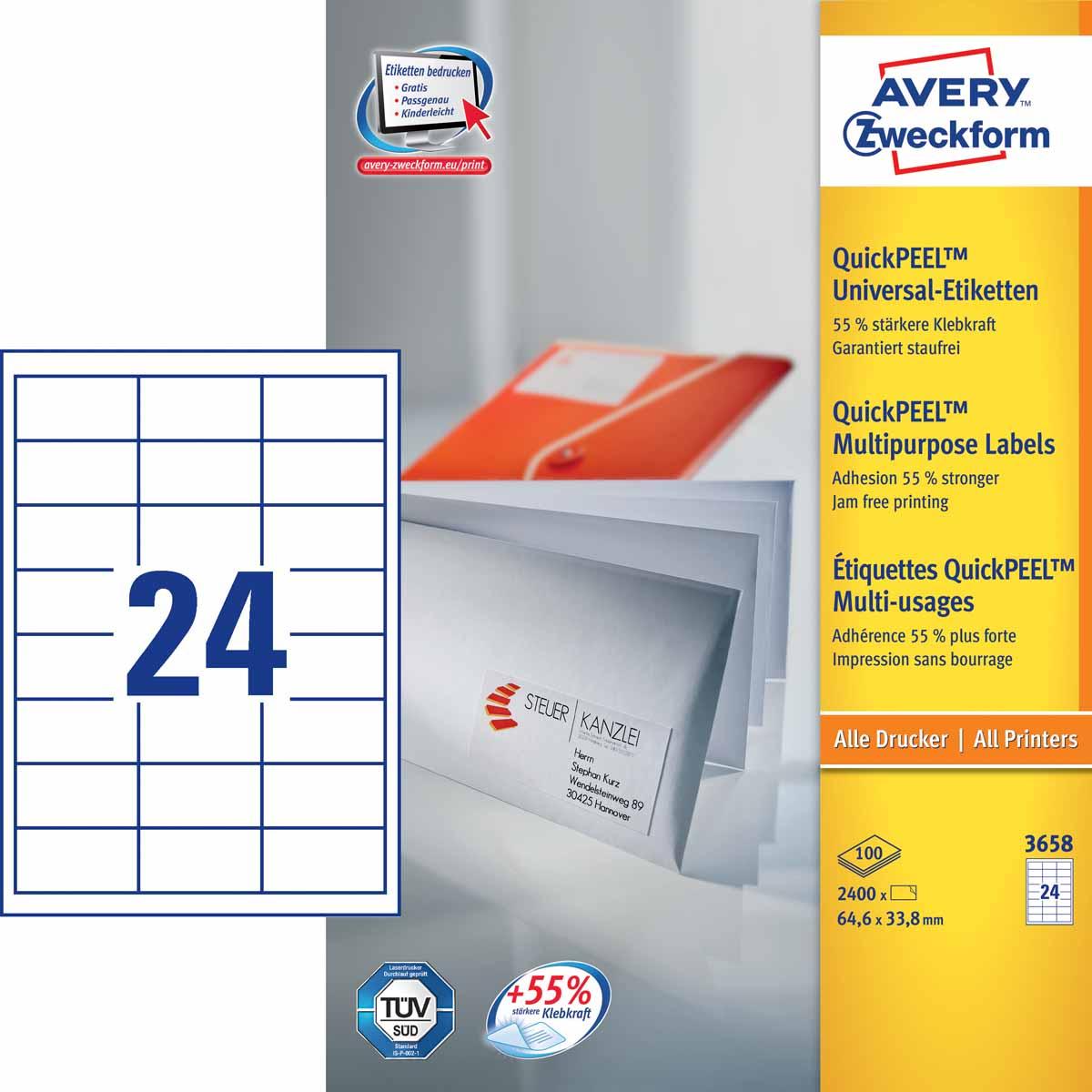 Avery Zweckform Этикетки самоклеящиеся универсальные Quick PEEL 64,6 х 33,8 мм 2400 шт 100 листов