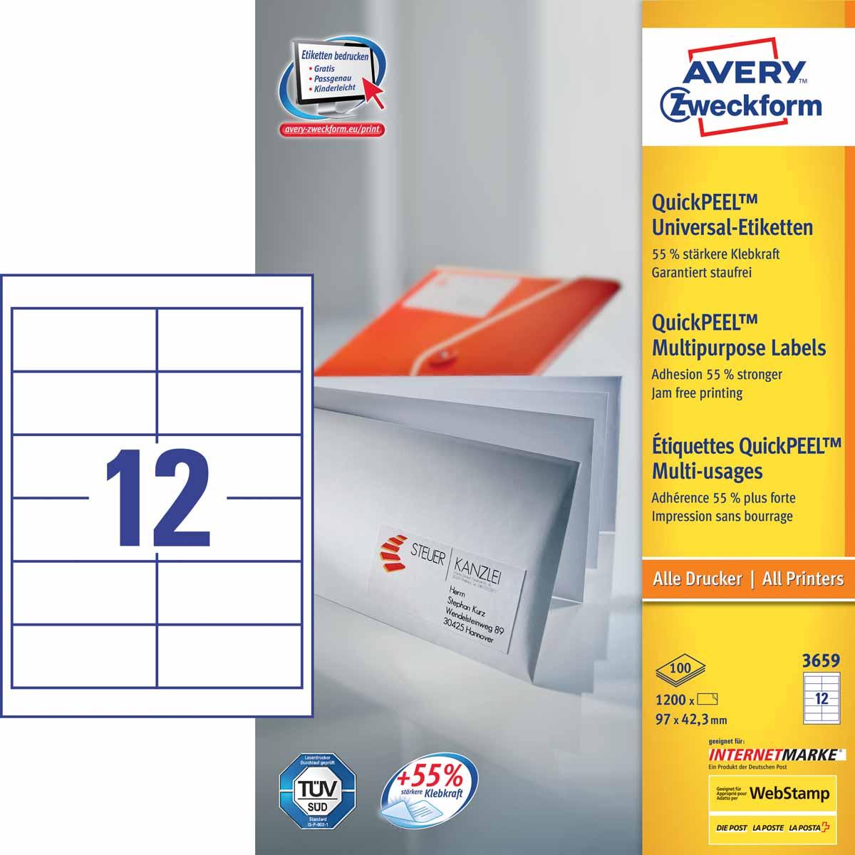 Avery Zweckform Этикетки самоклеящиеся универсальные Quick PEEL 97 х 42,3 мм 1200 шт 100 листов