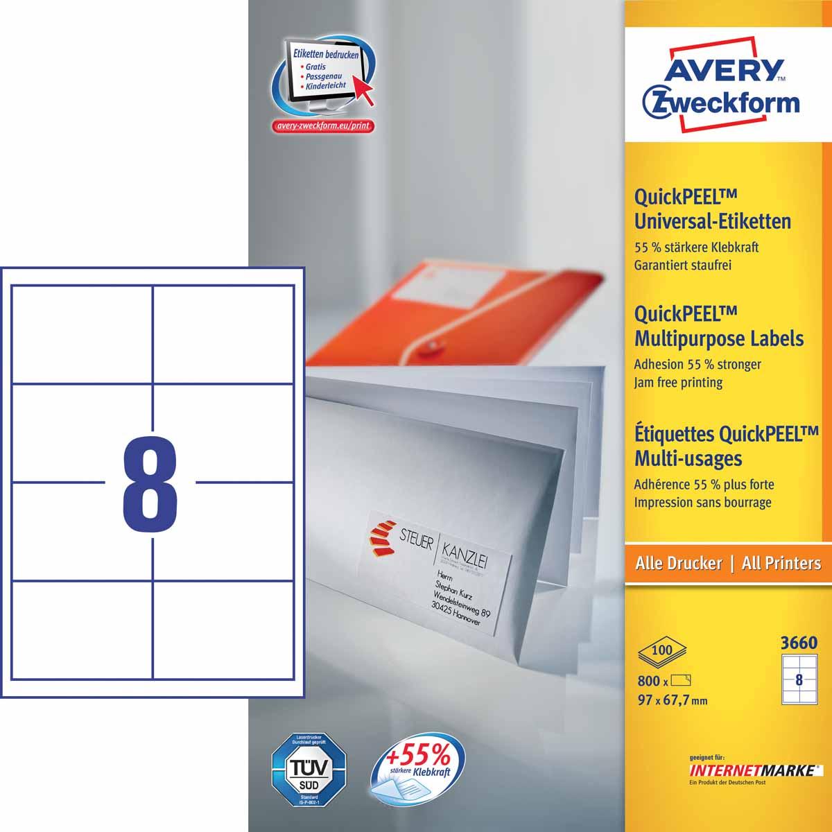 Avery Zweckform Этикетки самоклеящиеся универсальные Quick PEEL 97 х 67,7 мм 800 шт 100 листов