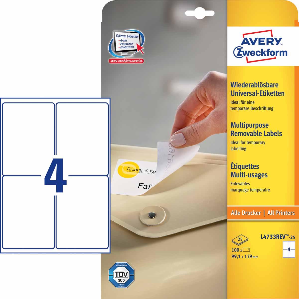 Avery Zweckform Этикетки Stick&Lift 99,1 х 139 мм 25 листов