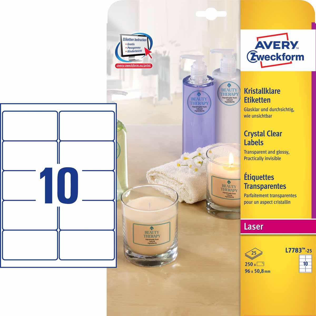 Avery Zweckform Этикетки специальные CRYSTAL CLEAR 96 х 50,8 мм 25 листов