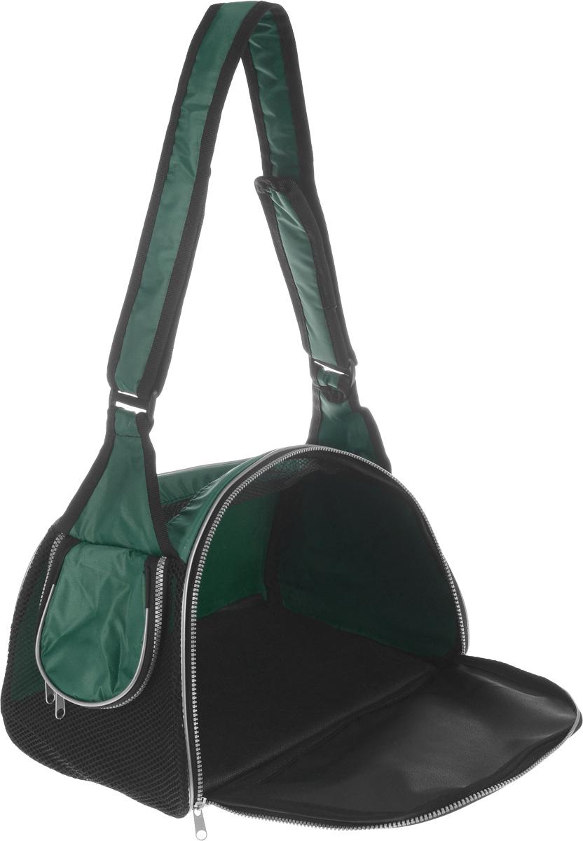 """Сумка-переноска для животных """"Elite Valley"""", с отверстием для головы, цвет: темно-зеленый, черный, 40 х 24 х 25 см"""