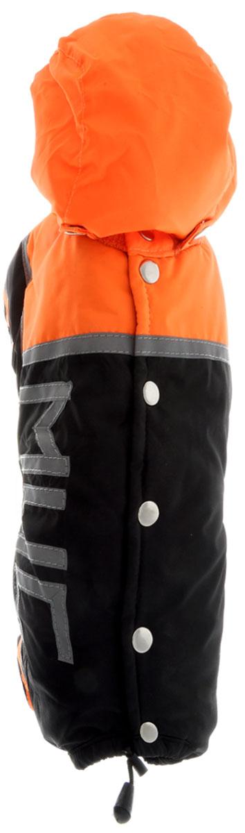 """Комбинезон для собак Kuzer-Moda """"МЧС"""", для мальчика, утепленный, цвет: черный, оранжевый. Размер S"""