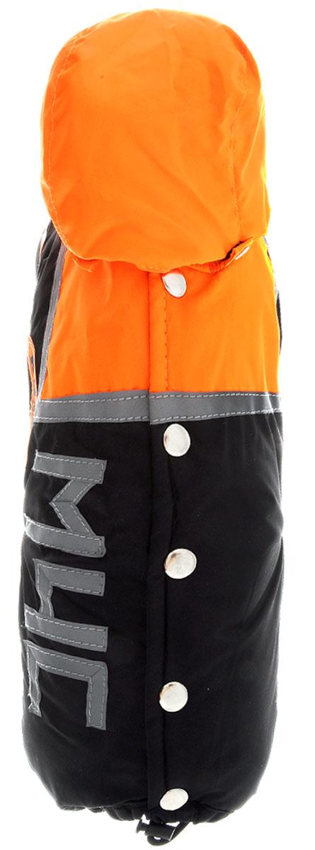 """Комбинезон для собак Kuzer-Moda """"МЧС"""", для мальчика, утепленный, цвет: черный, оранжевый. Размер XS"""
